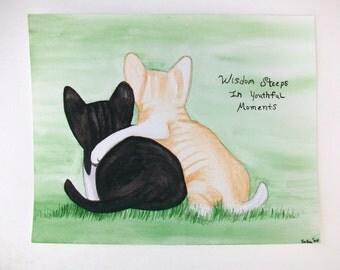 Original Watercolor Kitten Painting