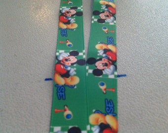 Mickey Mouse on Green Lanyard Badge, ID holder #240659