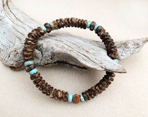Mens Turquoise, Coconut Wood, and Bone Bracelet, Boho, Yoga, Zen, Stretch Bracelet, Island and Sky, Handmade Men's Jewelry, Bracelet for Man