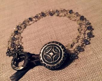 Merida - sterling, leather & semi-precious stone strand bracelet