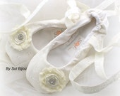 Ivory Bridal Flats, Ballet Flats, Wedding, Shoes, Flats, Flower Girl, First Communion, Ballerina Slippers, Cotton,Lace Up, Crystals, Elegant