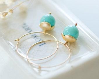 Turquoise hoop earrings, Gold hoop earrings, Gold filled earrings, small gold hoop earrings, Gold filled hoops, Turquoise earrings