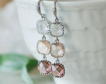 Ombre earrings, Peach ombre earrings, Peach earrings, Pale burgundy earrings, Ombre wedding, Bridesmaids earrings, Bridal earrings