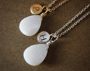 White Druzy Necklace - with Initial Charm - Personalized Necklaces