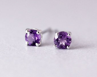 Classic Prong Set AAA Grade Purple Amethyst Round Stud Earrings - 10kt White Gold