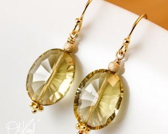 Gold Champagne Citrine Earrings - Birthstone Earrings - November Birthday Gifts
