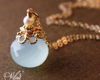 Sea Green Chalcedony Necklace - Freshwater Pearl - Aqua Chalcedony, 14K GF