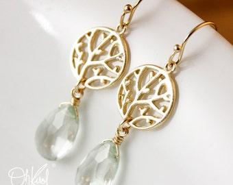 Gold Green Amethyst Earrings - Tree Filigree - 14K GF