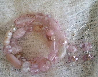 Pink Pixie Dust Glass and Ceramic Bead Handmade Bracelet and Earring Set