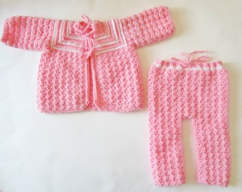 Crocheted Baby Sweater and Pants Set, Size 0-3 Month,  Pink, Girl