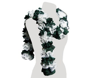 Green and White Ruffle Scarf Twirly Long Scarf Trendy Scarf Ladies Dressy Warm Scarf Womens Fashion Handmade Gift by CraftCrazy4U on Etsy