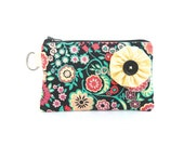 Floral Zippered Bag  in Black, Pink and Yellow - Yellow Flower / Coin Purse / Id Case / Gadget Pouch with Split Ring - READY TO SHIP