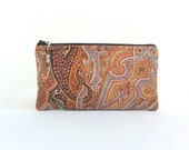 Paisley Clutch Zippered Bag Sunset / Beaded Pull - READY TO SHIP