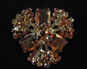 Topaz and Smoke D&E Juliana Brooch, Delizza and Elster, Fabulous Piece