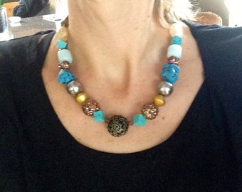 Turquoise, Statement Necklace, Multicolored, Big and Bold, Chunky, Modern