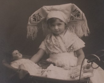 Antique Little Nurse Maid with Dolls in Pram Real Picture Postcard RPPC / Germany
