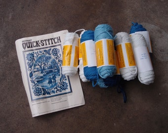 Vintage Needle Point Kit Embroidery Blue White Winter Bernat Quick Stitch Ice Skating Yarn Stitchery Craft Supplies