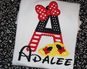 Minnie or Mickey inspired Alphabet shirt- First Disney trip shirt or ruffle dress- boy or girl version