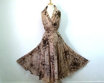1970s Dress Watercolor Flower Print Beige Brown Cotton vintage 70s dress M