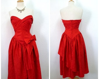 Vintage 80s Dress Red Sweetheart strapless I. Megnin Prom Cocktail Party Wedding Small