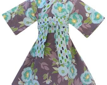 Girls Kimono Dress Size 5/6  in BLUE PEONY Yukata Modern Kimono Girls Baby Toddler Japanese Asian