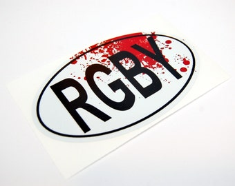 Rugby Sticker RGBY Oval With Blood Spatter