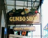 Gumbo Shop Photograph, French Quarter Print, Cajun, Creole, New Orleans, Mardi Gras, Wall Art, Home Decor, 8x10, 11x14, 16x20, 20x24, 24x30