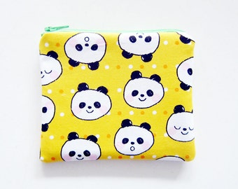 Zipper Pouch - Pandas on Yellow - Available in Small / Large / Long