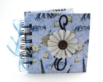 Birds in Paris Gratitude Book, gratitude journal, thank you book, thank you journal, gratitude diary, blessings book - blue, black