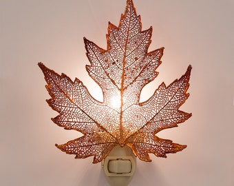 Real Silver Maple Leaf Dipped In Irridescent Copper Night Light  - Irridescent Copper Leaves