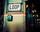 Chicago Loop Train / urban wall art / Photograph of vintage train / green orange wall decor / train home decor / boys room / playroom art