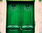 Paris Photograph / Photograph of Door in Paris / French Home Decor / emerald green / door art / rustic Parisian decor / beige / Paris print