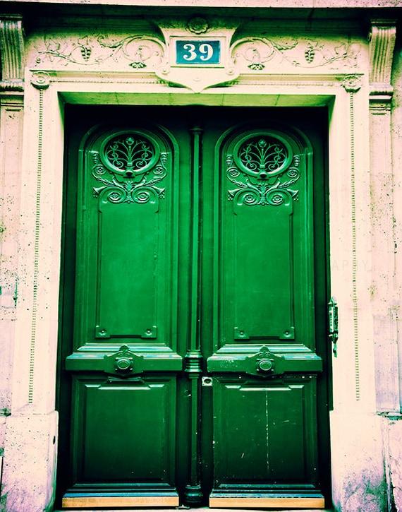 Paris Photograph / Photograph of Door in Paris / French Home Decor / emerald green / door art / rustic Parisian decor / beige / Paris print