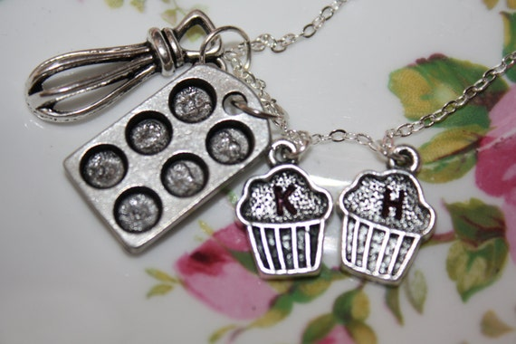 Cupcake Necklace Pan, Whisk & Cupcake, Sterling Silver Plated Chain Necklace, Gift for Mom, Grandma