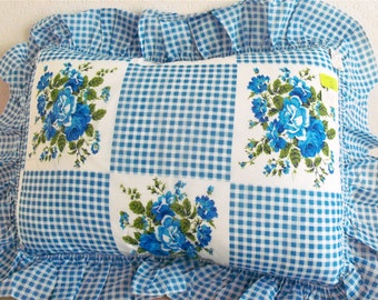 Vintage 70s Blue Roses and Gingham Pillow Sham - New With Tags