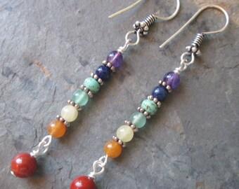 7 Chakra Earrings ~ Chakra Gemstones - Spiritual Jewelry
