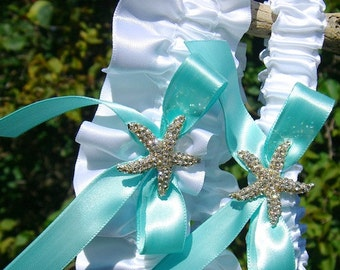 Starfish Garter,Beach Bridal Garter,Beach Weddings,Starfish Garter Set,Aqua Blue Garter,Starfish Wedding Accessories,Bridal Garter Set,Ocean