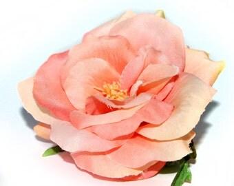 Salmon Peach Garden Rose - Fully Bloomed - Artificial Flower, Silk Flower Heads