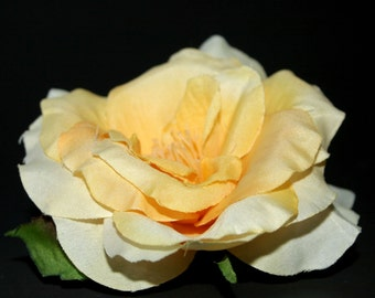 Multi-Toned Yellow Garden Rose - Fully Bloomed - Artificial Flower, Silk Flower Heads