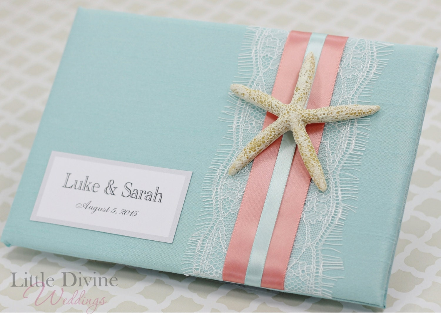 wedding guest book beach theme starfish custom made aqua blue