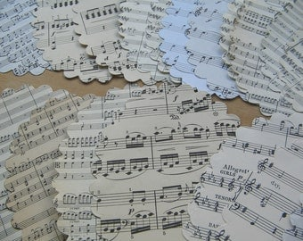 Extra Large Scalloped Edge Oval Sheet Music Die Cut Background Paper - Giant Paper Die Cuts - Shaped Topper Background Paper - Jumbo Die Cut