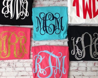LARGE MONOGRAM  Ladies Monogram SHORT Sleeve Shirt. Comfort colors shirt. Bride Bachelorette Greek Sorority. heat transfer monogram