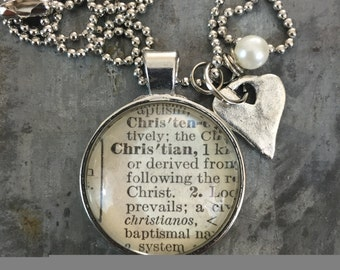 Vintage Dictionary Word Necklace CHRISTIAN with charms
