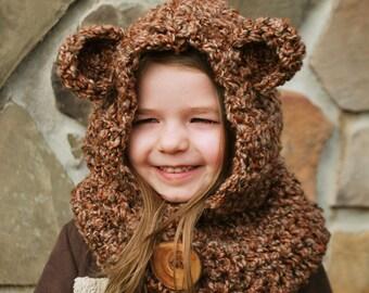 Children's Bear Hood / Cowl - Earthy Brown