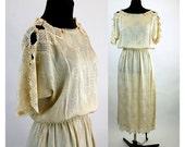 1980s dress silk dress jacquard dress crystals rosettes lace dress Carol Peretz ivory dress size L