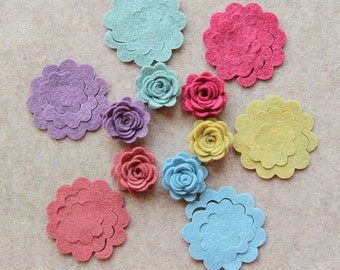 Sweater Weather - Small 3D Rolled Roses - 24 Die Cut Wool Blend Felt Flowers - Unassembled Rosettes