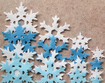 Frozen - Snowflakes in Style 7 - 48 Die Cut Felt Shapes