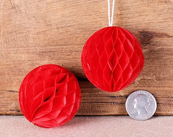 "Teeny Red Honeycomb Balls, 2"" Honeycomb Ball, Red Wedding Decorations, Red Honeycomb Ball, Red Honeycomb Ball Straw Topper (6 ct)"
