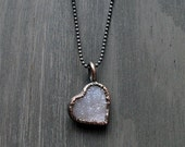 Valentine Love Heart Quartz Necklace Druzy Pale Lavender Natural Stone Necklace Pendant Rough Stone