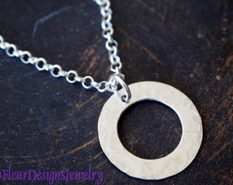 Eternity Circle Necklace, Textured Circle Charm Necklace, Silver Washer Charm Necklace